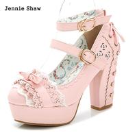 Sweet High Heels Lolita Shoes Princess Lace Bow Shoes Female Thick Heel Platform Shoes Sys 1166