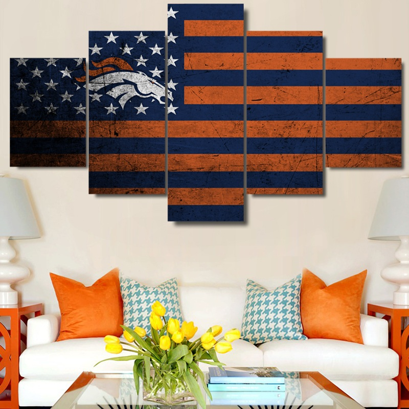 5 Panel Canvas Art HD Printed Denver Broncos Flag Painting Wall Picture Home Decor