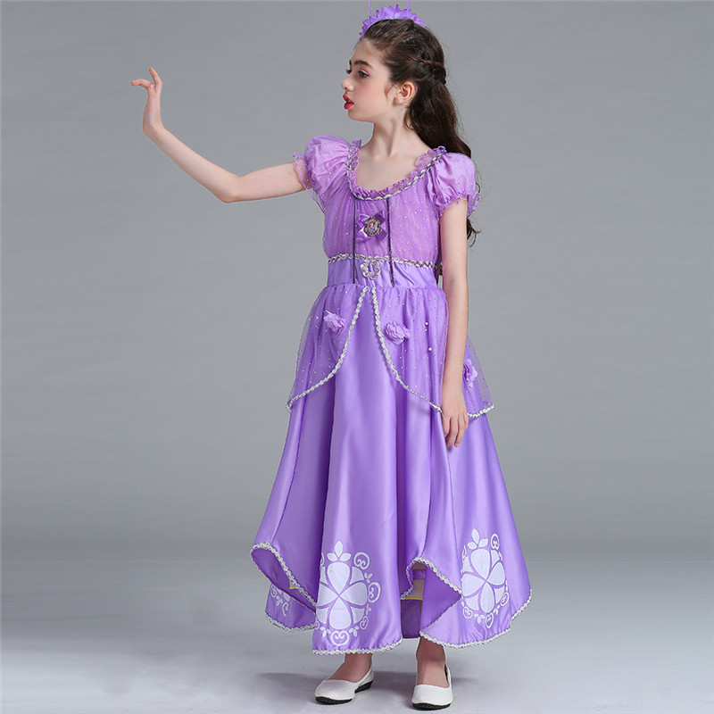 Purple Sofia Princess Dress Formal Halloween Party Dresses Costume Girls Long Sleeveless Dress Clothing for 4 to 10 Years Kids