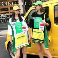 QING MO Women Irregular Mesh Plaid Patchwork T Shirt Women Contrast Color T Shirt Women Casual Loose T Shirt ZQY644