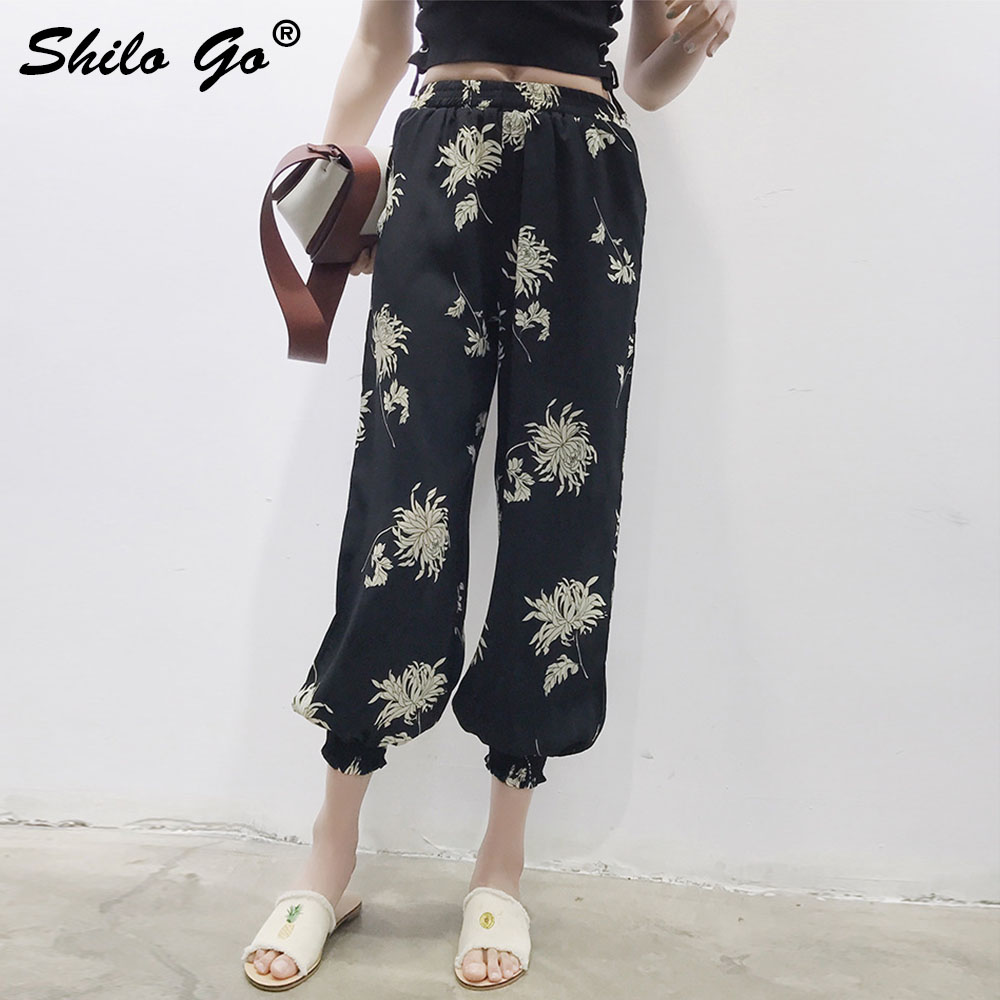 Floral Print Harem   Pants     Capri   High Split Loose Casual   Pants   Women Beach Summer Black Chiffon Trousers High Waist   Pants   2019