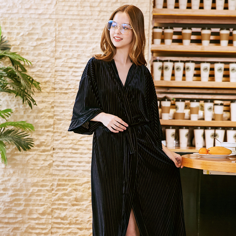 Chinese Brand Designr New Female Thin Velour Kimono Bathrobe Nightgown  Lady s Dressing Gown Robe Casual Sleepwear Night Dress-in Robes from  Underwear ... c5510b334