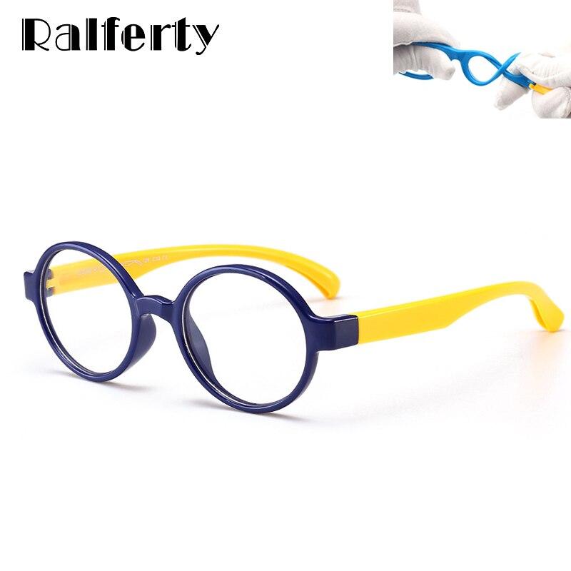 Ralferty 2018 Kids Unbreakable Flexible Round Eyeglass Frame Vintage Myopia Glasses Frames Prescription Optical Eyewear K8146