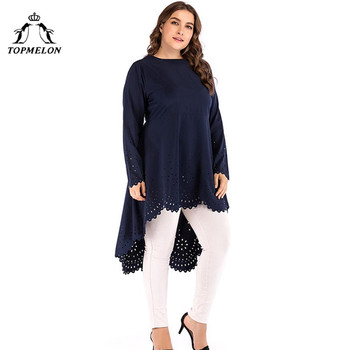 TOPMELON الأزياء مسلم اللباس قميص زائد حجم بلوزة فساتين البحرية كم طويل الرباط الحجاب اللباس XL-5XL 2