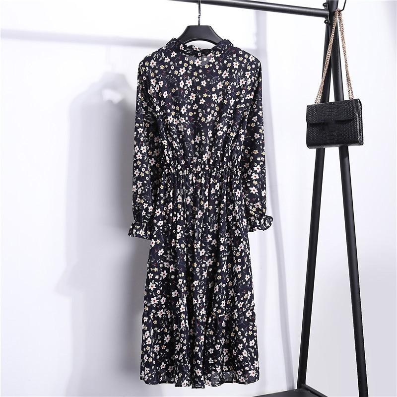 Summer Korean Chiffon Women Dress Elegant Ladies Vintage Long Dress Boho Floral Office Long Sleeve Vestidos Clothing 5LYQ003 31