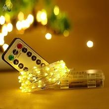 Cadena de luces LED con batería de alambre de cobre, 10/20m, con mando a distancia, para decoración de bodas, Navidad, fiestas, vacaciones, Halloween
