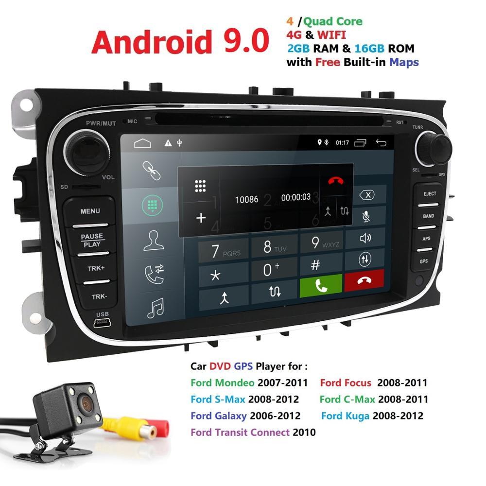 Autoradio 2 Din Android 9 pour FORD/Focus/S-MAX/Mondeo/C-MAX/Galaxy lecteur vidéo DVD de voiture multimédia GPS USB DVR WIFI FM/AM RDS BT