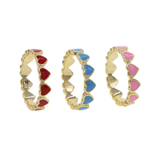 Red Blue Pink enamel heart Gold color Ring Radiant Hearts Orchid Enamel Cerise Finger Rings for Women Engagement Jewelry
