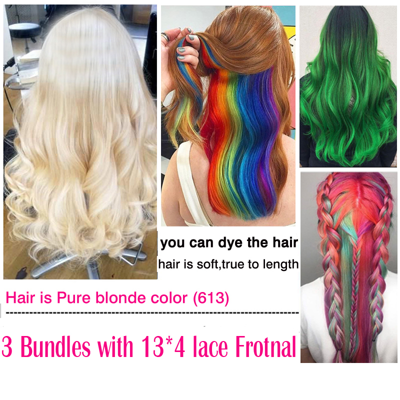 Blond Brazilian Hair Platinum 613 Blonde Hair 3 Bundles With Ear To Ear Frontal Closure Carina Remy Human Straight Hair Blond