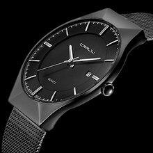 Hommes Montres Top Marque De Luxe Étanche Ultra Mince Date Noir horloge Mâle Bracelet En Acier Casual Quartz Montre Hommes Sport Poignet montre