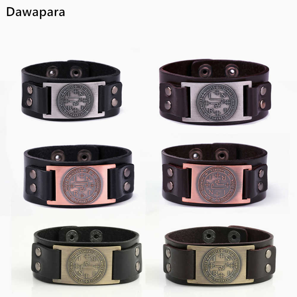 Dawapara Sigil of Archangel Thavael Genuine Leather bangle Bracelet Jewellery Seal of Solomon Talisman Wicca Zinc Alloy Charm