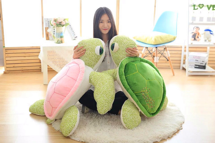 one piece new creative turtle toy plush green or pink back turtle doll pillow gift about 90cm 2017 new arriving 40cm big eyes turtle plush toy turtle doll turtle kids as birthday christmas gift free shipping