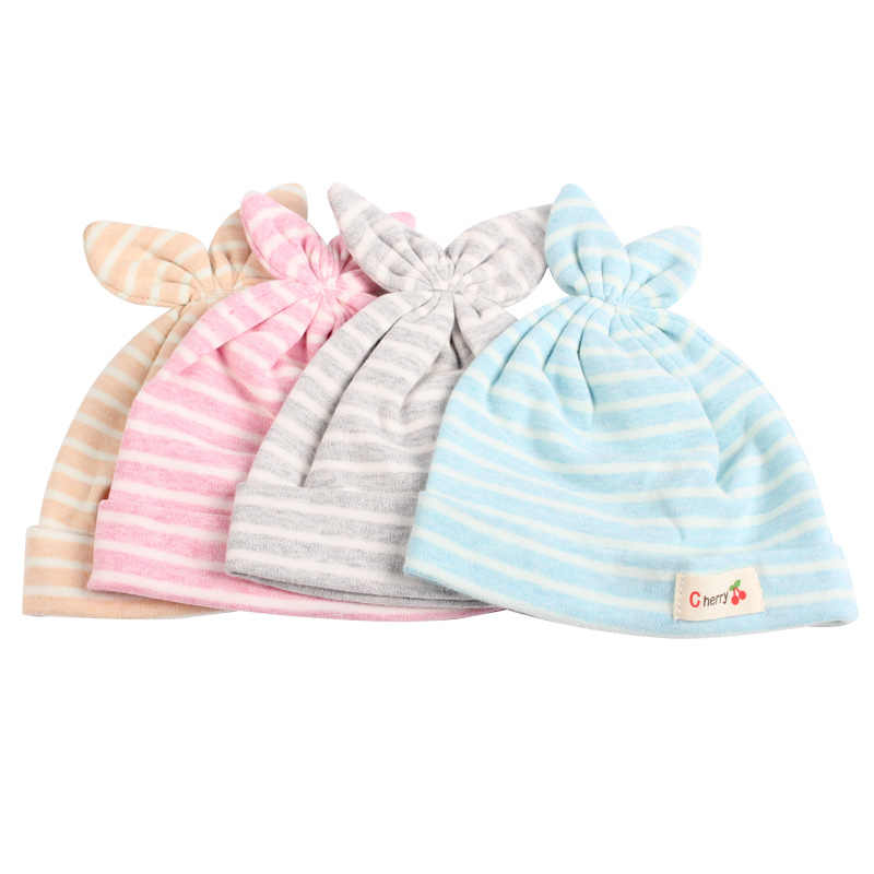 0922a700d28 ... Cotton Newborn Baby Hat Rabbit Ears Baby Beanie Hat For Boys Girls  Solid Striped Newborn Cap ...