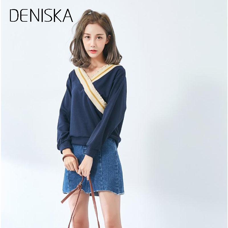 900ae8ff268aa DENISKA Varsity Striped Trim Cable Knit Jumper V Neck Loose Long Sleeve  Womens Sweaters 2018 Burgundy Twill Sweater-in Pullovers from Women s  Clothing on ...