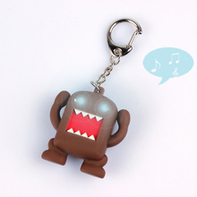 Domo-Kun sound light-emitting LED flashlight key chain cartoon cute chain bag pendant creative gift for children wholesale