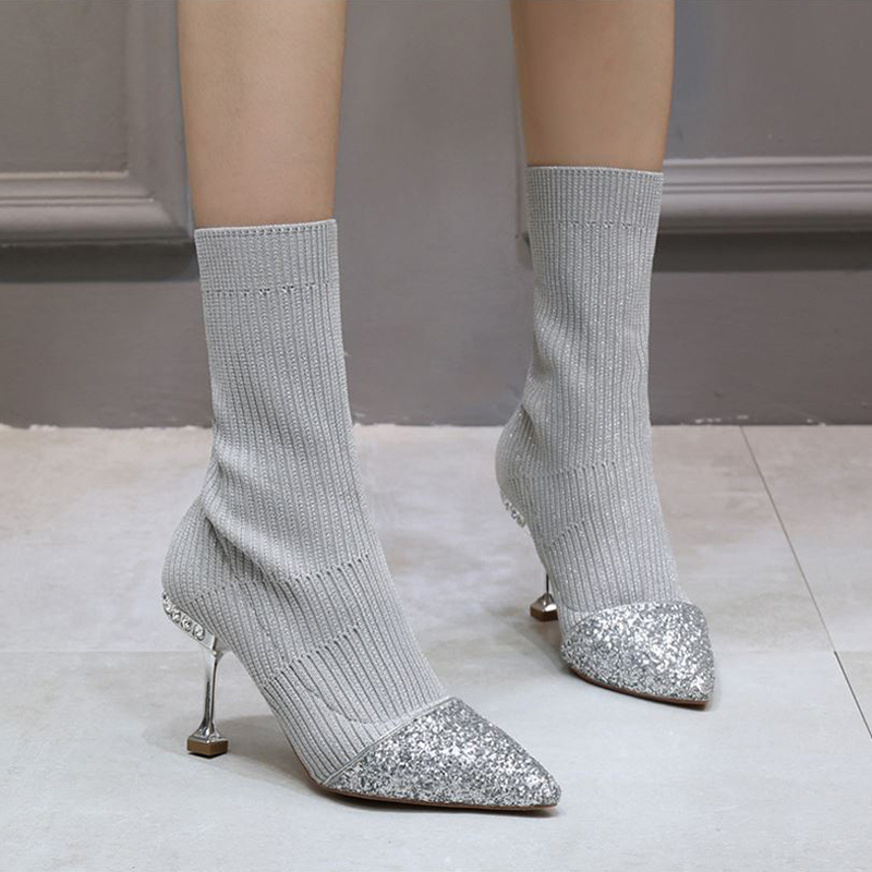 Women Knitting Sock Boots Patchwork Bling High Heels Cat Heels Crystal Mid Calf Boots Stretch Women Fashion Shoes Ladies Boots ladies dance dress mid calf boots spring autumn low heels patchwork boots dance slip on mid calf pointed patchwork ladies boots