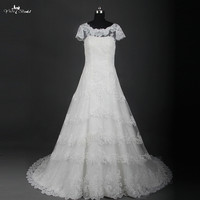 Bling Bridal Gowns Vintage Lace A Line Wedding Dress With Sleeves RSW830