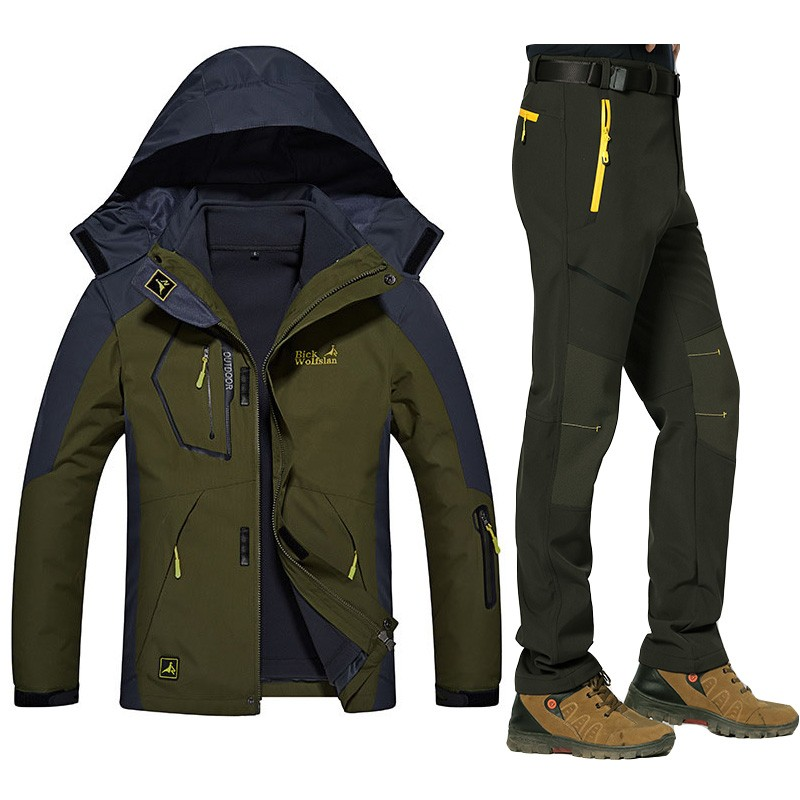 acd95b1f0b Winter Warm Ski suits Men Waterproof Fleece Snow Jackets Thermal Coat Outdoor  Mountain Snowboard Ski Jacket Pants Men Clothing-in Hiking Jackets from  Sports ...