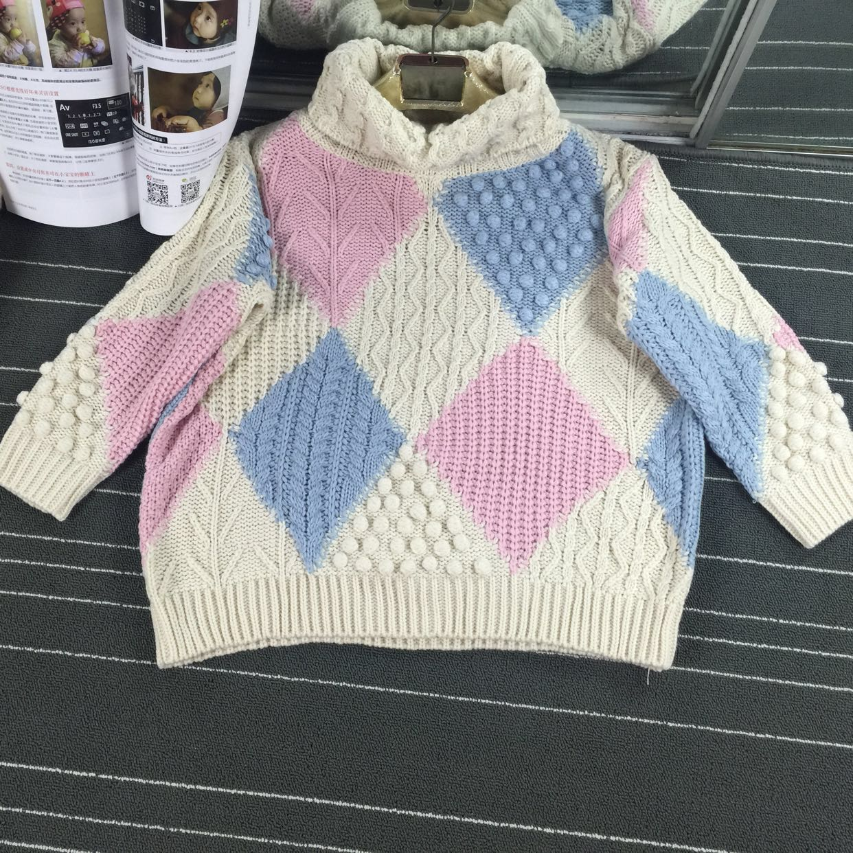 Poncho Pullover Sale Cotton Women Sweater 2017 Spring New 's Hit Color  Heavy Industry Diamond Shaped Ball Knit Turtleneck -in Pullovers from  Women's