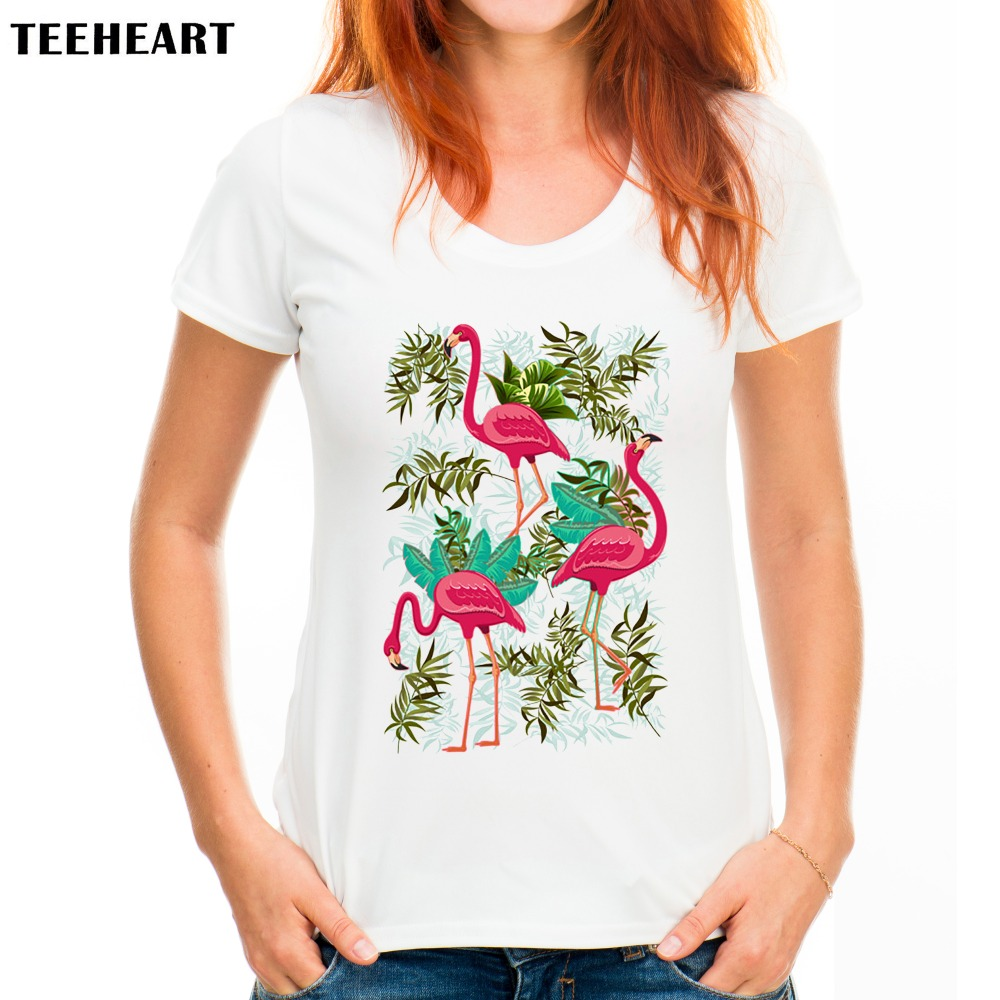 Teeheart Women Summer Novelty Pink Flamingos Exotic Birds