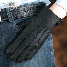 High Quality Men Genuine Leather Gloves Luxurious Male Deerskin Autumn Winter Plus Velvet Warm Fashion Driving Miteens