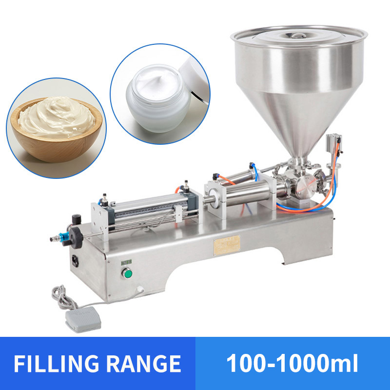 YTK 100-1000ml Single Head Cream Shampoo Pneumatic Filling Machine Piston Cosmetic Paste Cream Shampoo Filling Machine Grind