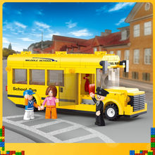 Happy Little Luban B0507 Assembled Building Blocks 1 s Bus School Bus Series Mini Campus Bus Toys Children Boy(China)