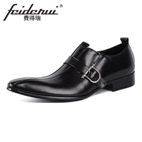 Italian Style Genuine Cow Leather Mens Loafers Luxury Pointed Toe Slip on Man Wedding Flats Height Increasing Casual Shoes YMX47