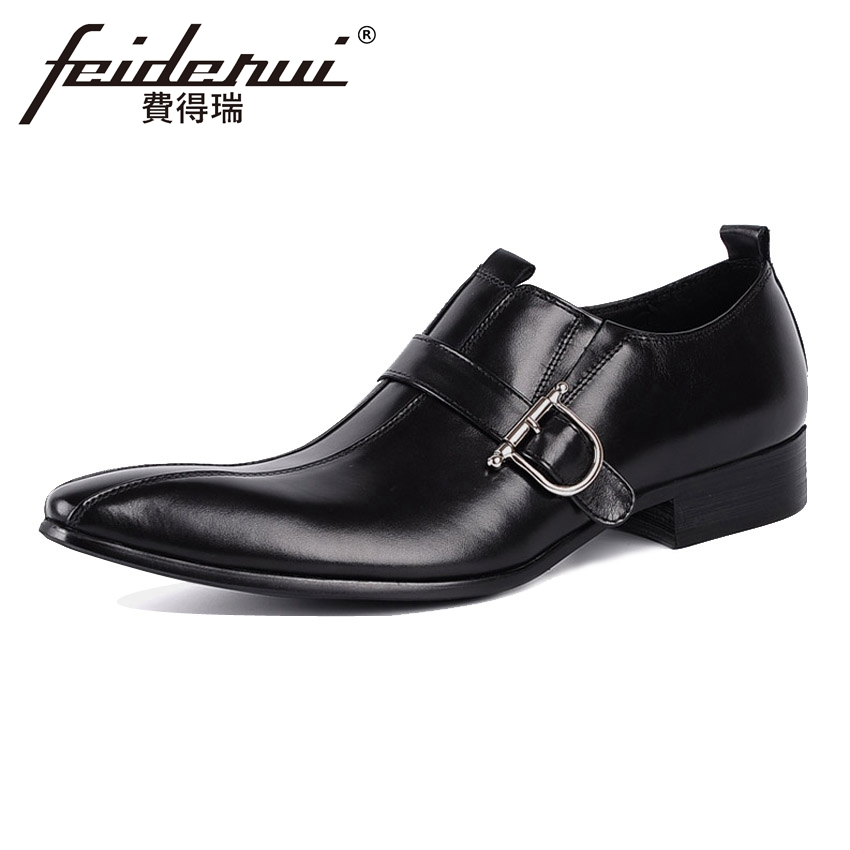 Italian Style Genuine Cow Leather Mens Loafers Luxury Pointed Toe Slip on Man Wedding Flats Height Increasing Casual Shoes YMX47 mycolen men loafers leather genuine luxury designer slip on mens shoes black italian brand dress loafers moccasins mens