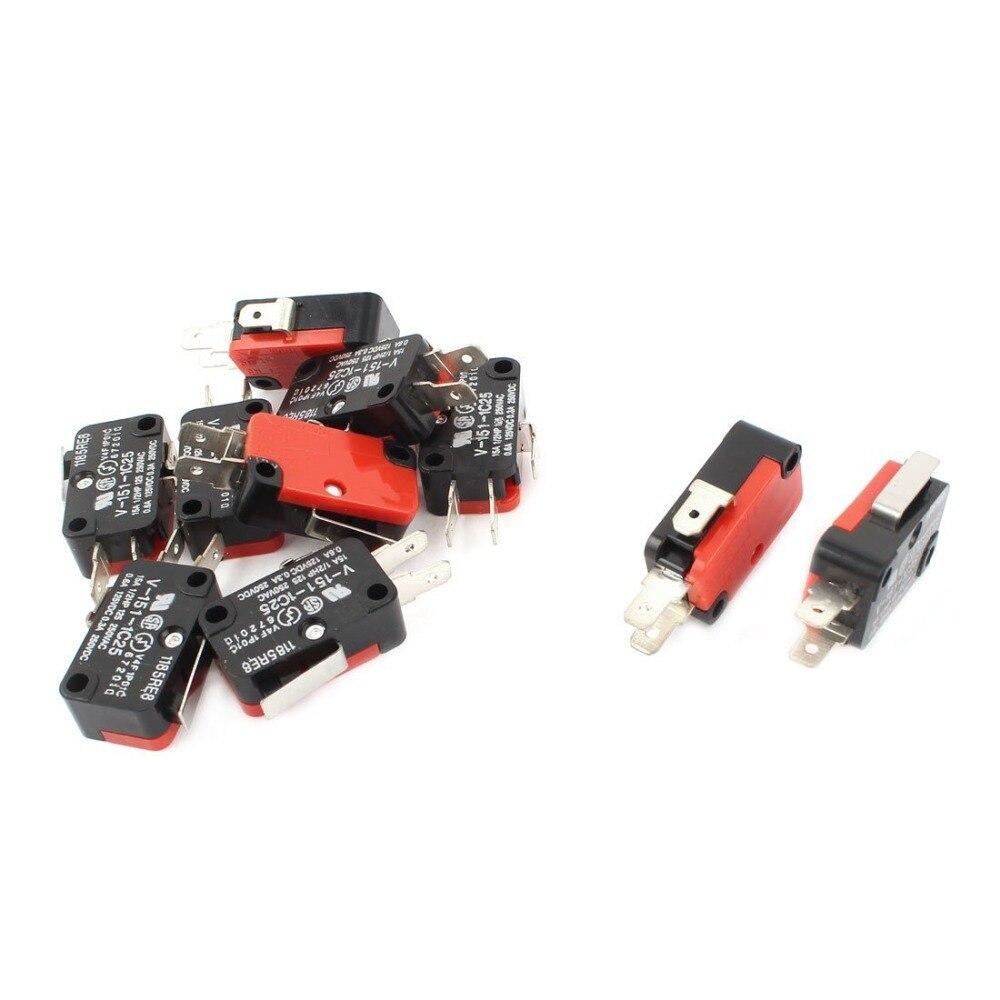10 adet V-151-1C25 mikro sınır anahtarı SPDT NO NC Yapış Eylem 16A AC125/250 V