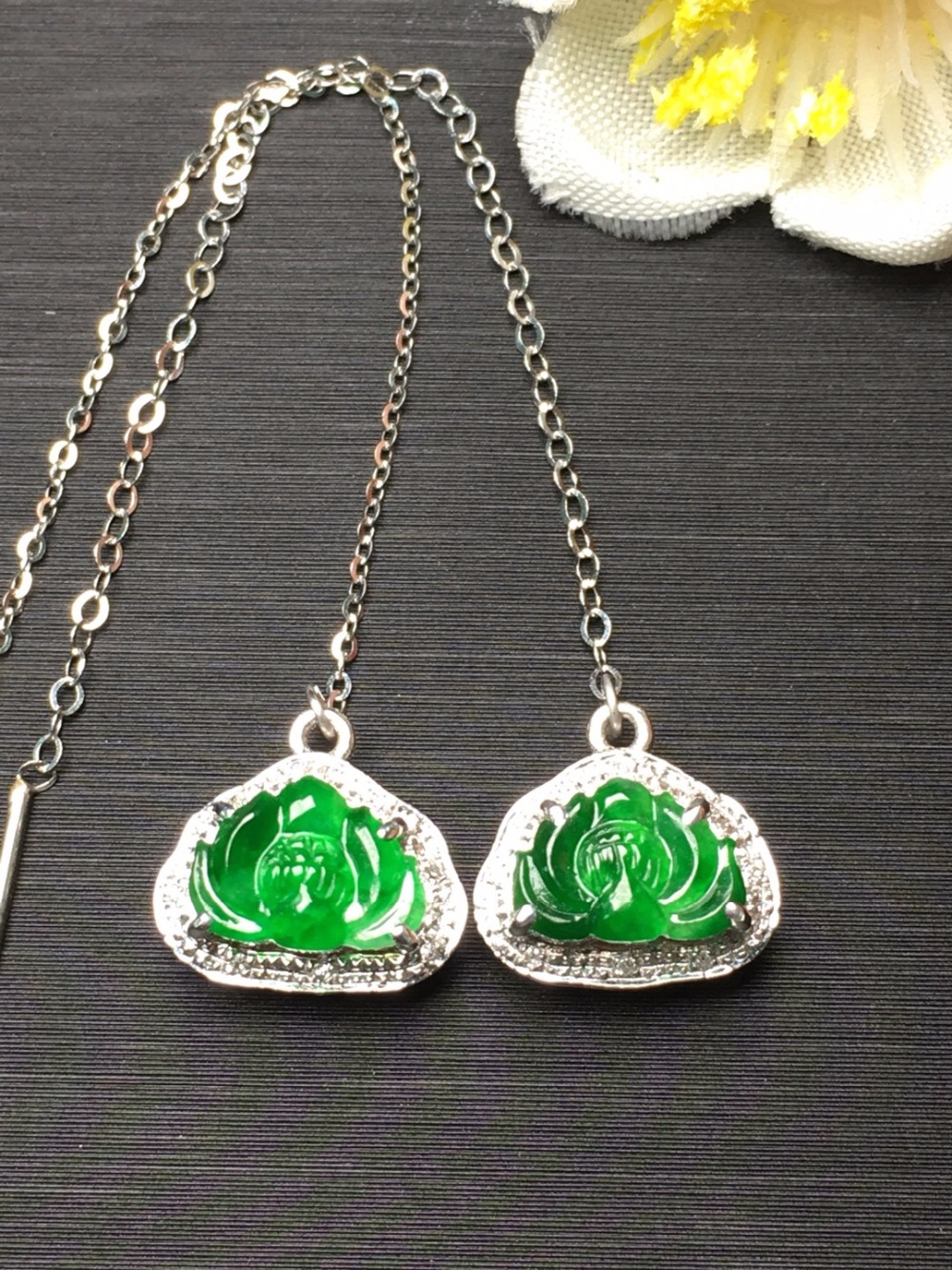 Fine Jewelry Jadite Real 18K White Gold AU750 100% Natural Green Lotus Jade Gemstone Myanmer Origin Drop Earrings for Women