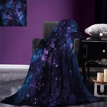 Space Throw Blanket Mystical Sky with Star Clusters Cosmos Nebula Celestial Scenery Artwork Warm Microfiber Blanket