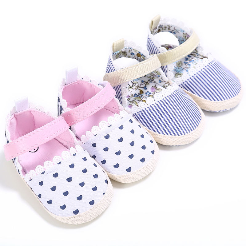 Newborn-18M Girls Kids Heart Baby Shoes Soft Sole Toddler HANDMADE Crib Shoes