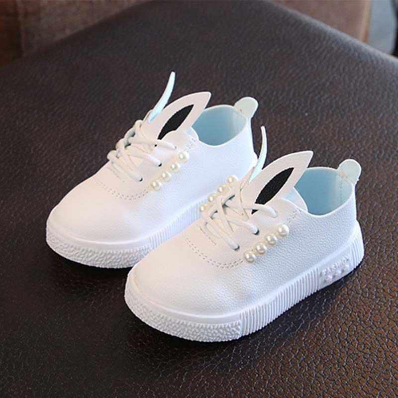 เด็กผู้หญิงรองเท้าเด็กวัยหัดเดินเด็กทารกกระต่ายหูเจ้าหญิงรองเท้าสำหรับสาวรองเท้ารองเท้าผ้าใบ