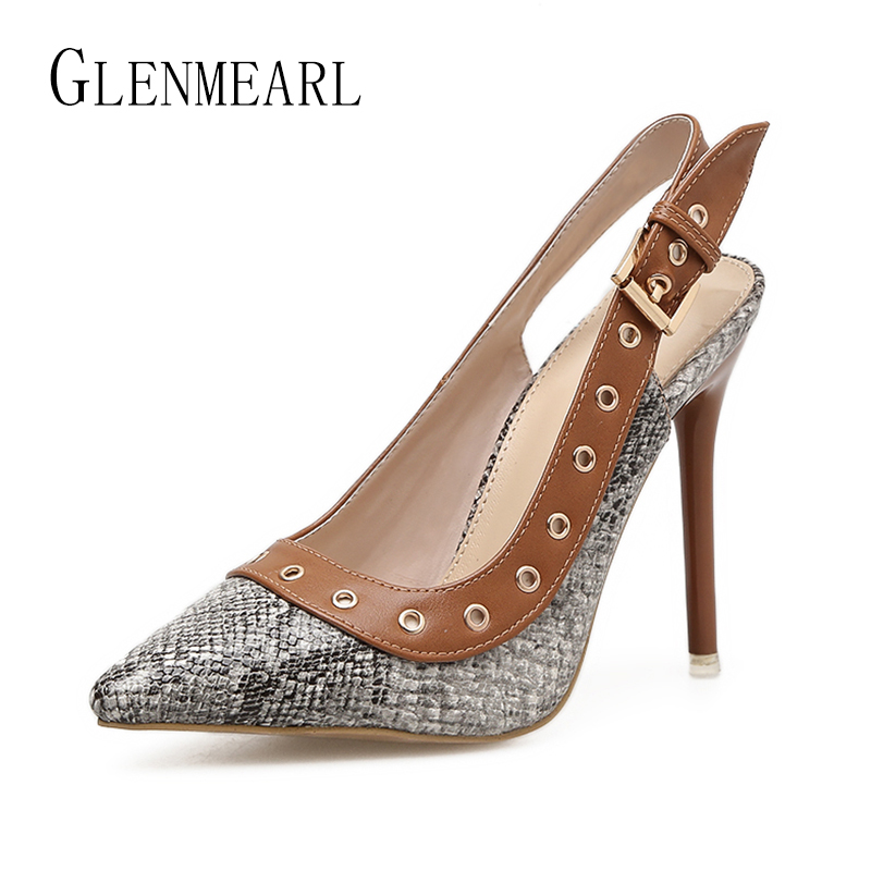 Sexy Women Pumps High Heels Shoes Brand Serpentine Pointed Toe Single Shoes Woman Thin Heels Black Rivet Buckle Party Pumps 45 2018 women high heel party pumps wedding sexy shoes lady thin heels 9 cm ankle buckle strap pointed toe rivet nightclub fashion