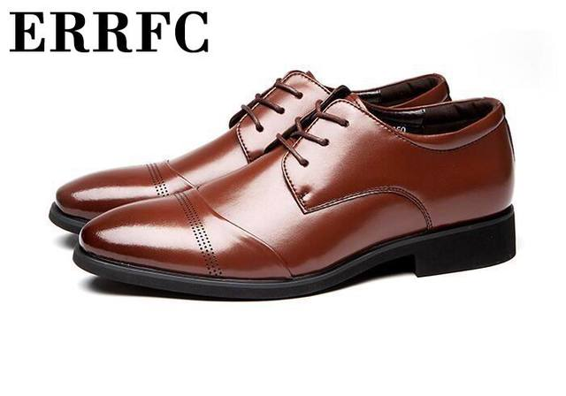 d9c2ae529d3b ERRFC Plus Size 11 12 13 Brown Men Dress Shoes Pointed Toe Lace Up Office Career  Leather Shoes Man Black Business Leisrue Shoes