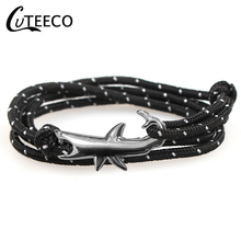 CUTEECO New Adjustable Sliver Shark Fashion paracord Anchor Bracelet Men and woman Charm Survival Chain Sport Lovers Bracelets