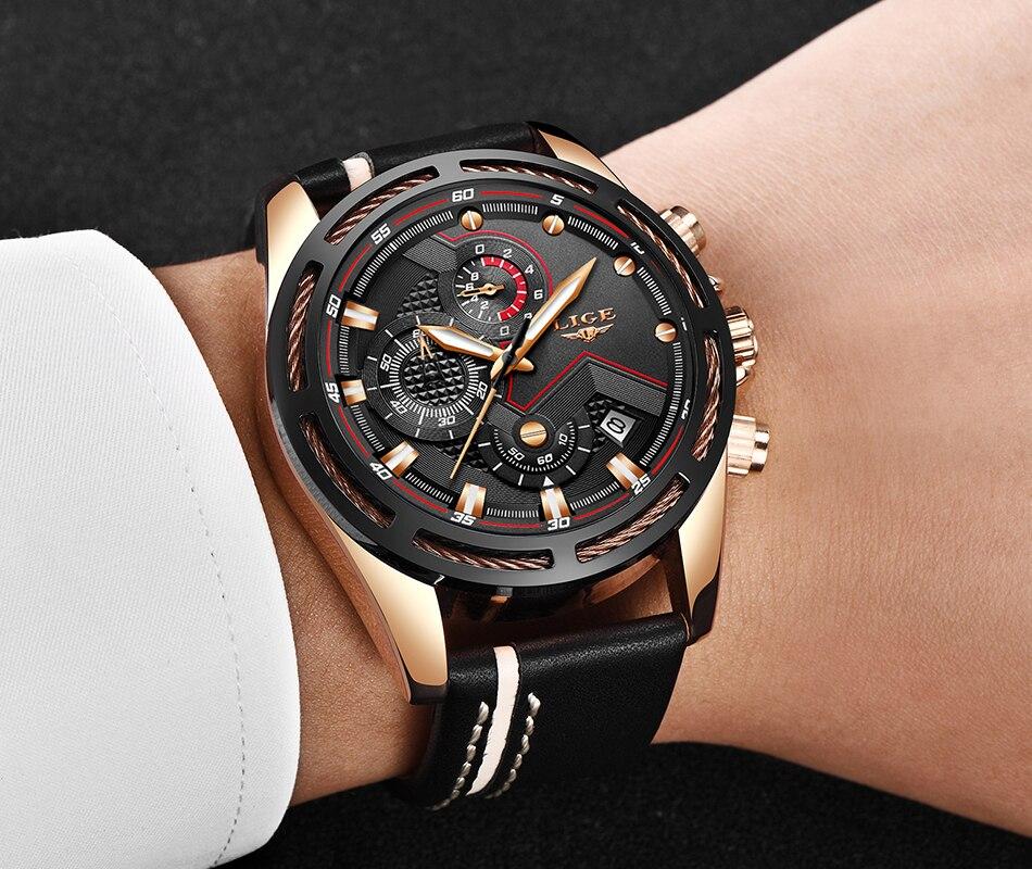 HTB1e4kLa8WD3KVjSZFsq6AqkpXaq LIGE Watch Men Fashion Sport Quartz Clock Leather Mens Watches Top Brand Luxury Blue Waterproof Business Watch Relogio Masculino