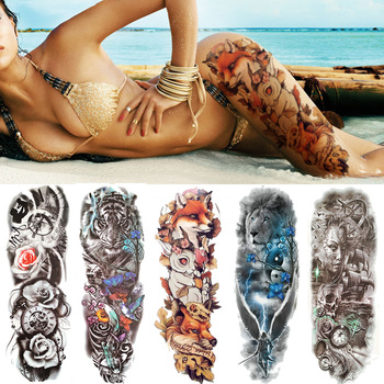 Sexy Wolf Full Flower Arm Temporary Tattoo Stickers For Men Body Art Sleeve Tattoo Decals Girl Women Waterproof Tatoo Fox Legs