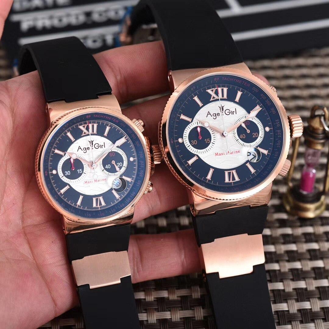 Nouvelle marque de luxe hommes femmes chronographe or Rose noir bleu café argent caoutchouc acier inoxydable montres lumineux Sport AAA + UN
