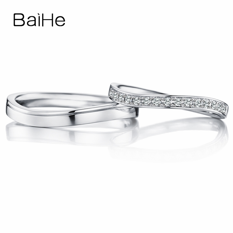 BAIHE Solid 18K White Gold 0.15ct Certified H/SI Round 100% Genuine Natural Diamonds Wedding Women Fine Jewelry Gift Couple Ring
