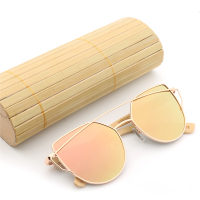 Fashion Women Cat Eye Mirror Sunglasses Rose Gold Super Star Bamboo Wood Sun Glasses Polarized UV400