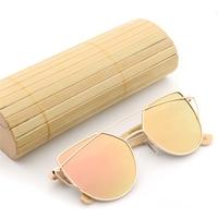 Fashion Women Cat Eye Mirror Sunglasses Rose Gold Super Star Bamboo Wood Sun Glasses Polarized UV400