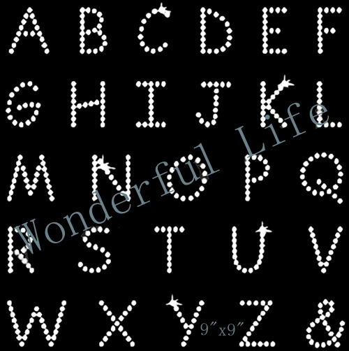 Wonderful life Free shipping Capital Letters Rhinestone Transfer Design  Hotfix 20PCS lot for clothing 94a21085121e