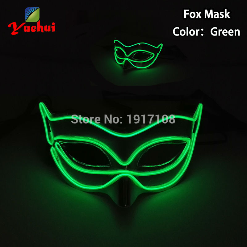 2017 NEW Sound activated Halloween Green Color New Fox Mask EL wire Masks LED Glowing Party DJ dance Carnival Masks accessories