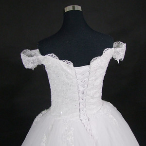 Image 3 - 2020 White or Ivory Lace Appliques Ball Gown Cheap Vestido De Novia Off The Shoulder Short Sleeves Bridal Dress
