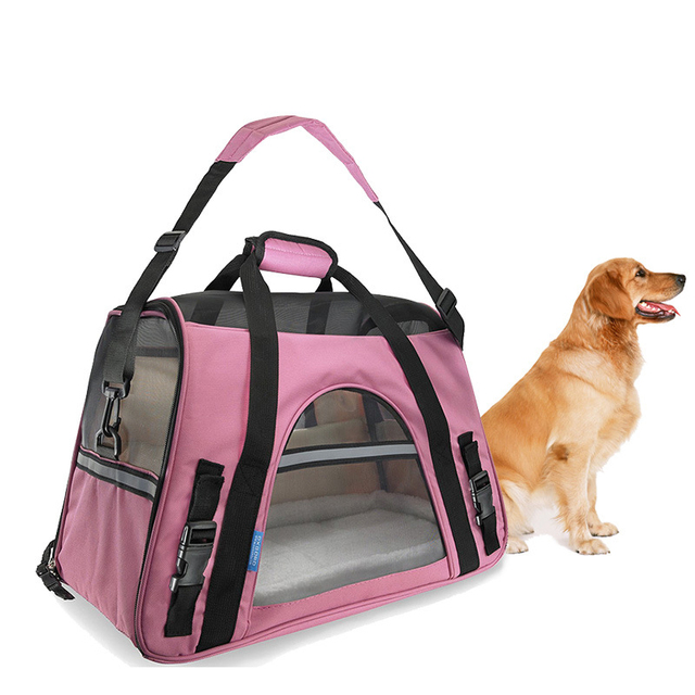 Portable Dog Travel Bag Pet Carrier Oxford And Breathable Mesh Cat Shoulder