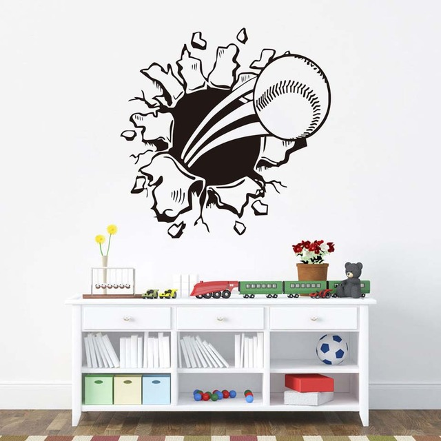 Amazing Baseball Wall Decals Sports Creative Art Design Vinyl Wall Sticker  Waterproof Self Adhesive Wallpaper Bedroom Decals