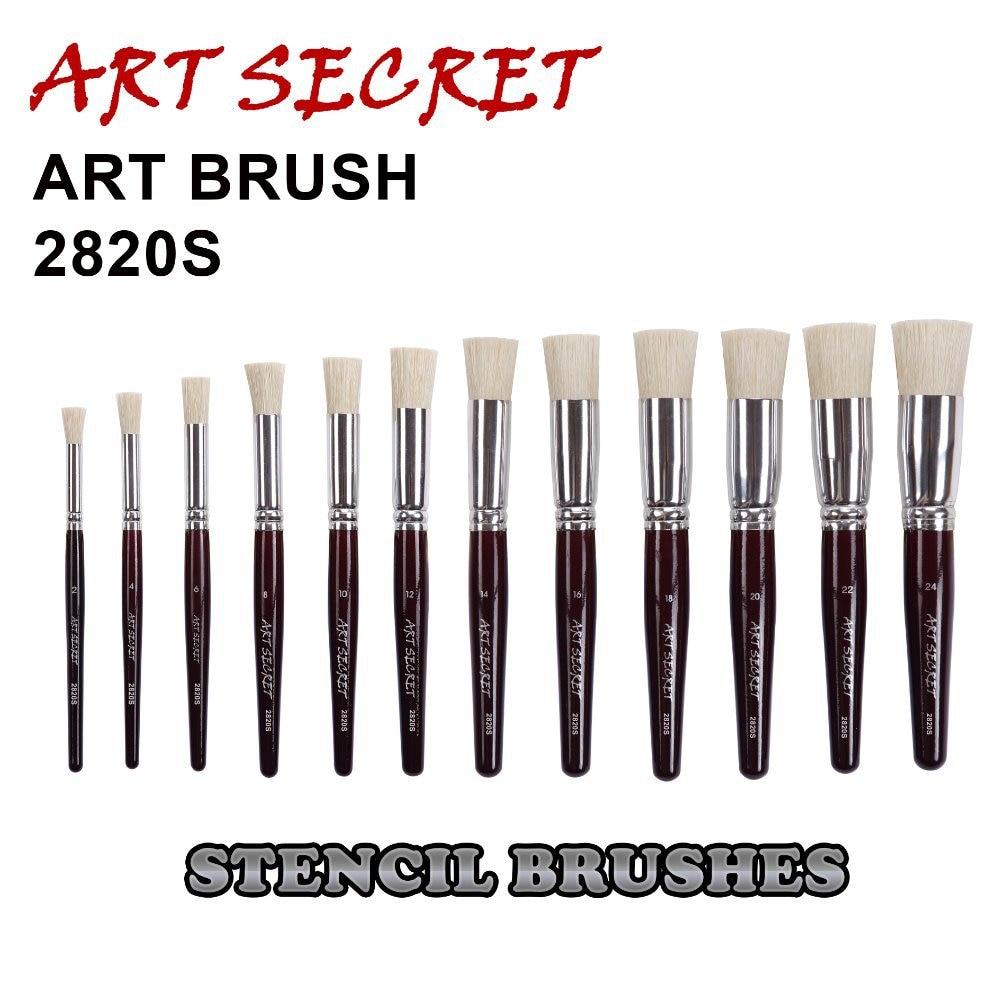 2820S High Quality Chungking Bristle Short Wooden Handle Aluminum Ferrule Paint Stencil Art Supplies Artist Brush