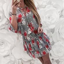 Fashsiualy 2019 Women Summer Lace Up Half Sleeve Dress Printing Evening Ruffles